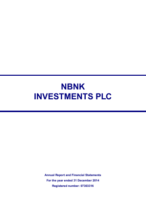 NBNK Investments Plc annual report 2014