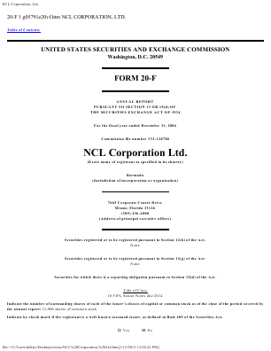 Norwegian Cruise Line Holdings . annual report 2006