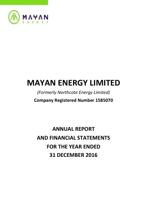 Mayan Energy (previously Northcote Energy) annual report 2016