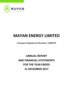 Mayan Energy (previously Northcote Energy) annual report 2017
