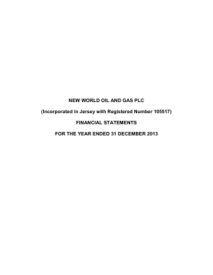 New World Oil and Gas annual report 2013