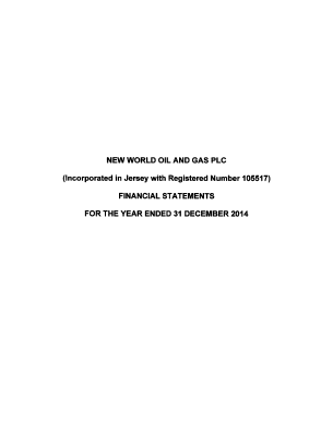 New World Oil and Gas annual report 2014