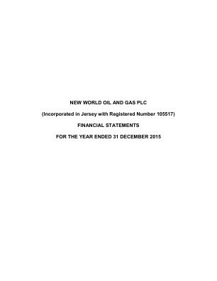 New World Oil & Gas Plc annual report 2015