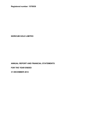 Georgian Mining Corporation (previously Noricum Gold) annual report 2014