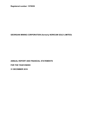 Georgian Mining Corporation (previously Noricum Gold) annual report 2016