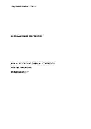 Georgian Mining Corporation (previously Noricum Gold) annual report 2017