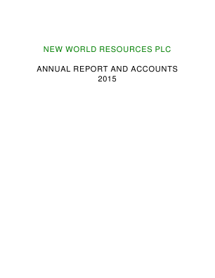 New World Resources Plc annual report 2015