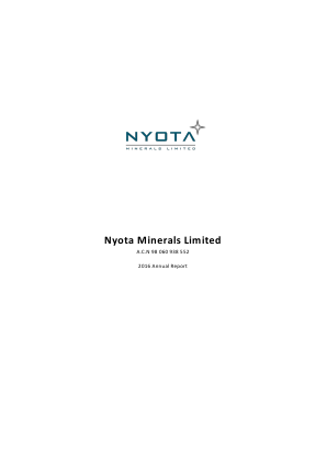 Nyota Minerals annual report 2016
