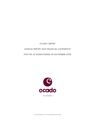 Ocado Group Plc annual report 2009
