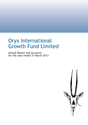 Oryx International Growth Fund annual report 2013