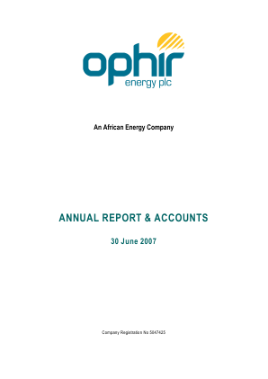 Ophir Energy Plc annual report 2007