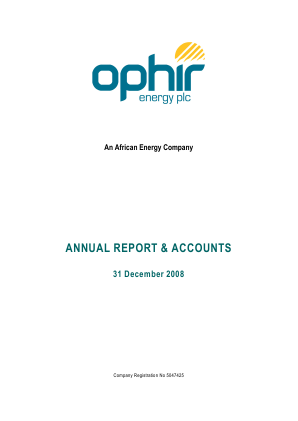 Ophir Energy Plc annual report 2008