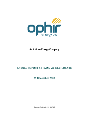 Ophir Energy Plc annual report 2009