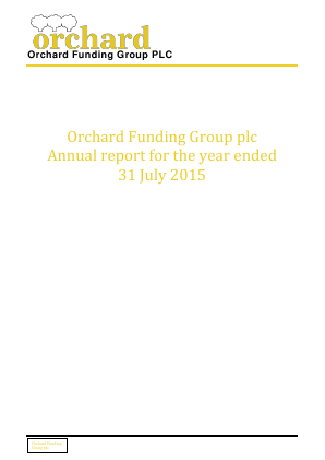 Orchard Funding Group Plc annual report 2015