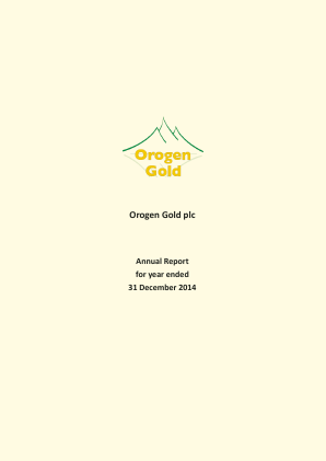 Orogen Gold Plc annual report 2014