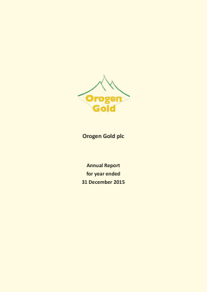 Orogen Gold Plc annual report 2015