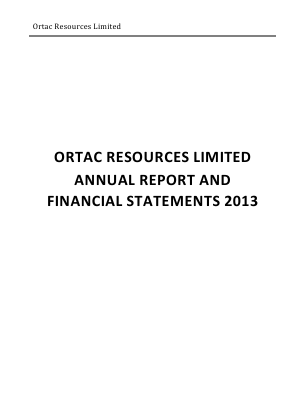 Arc Minerals (previously Ortac Resources) annual report 2013