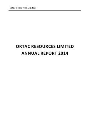 Arc Minerals (previously Ortac Resources) annual report 2014