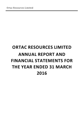 Arc Minerals (previously Ortac Resources) annual report 2016