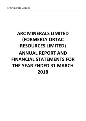 Arc Minerals (previously Ortac Resources) annual report 2018