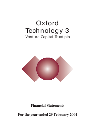 Oxford Technology 3 VCT Plc annual report 2003