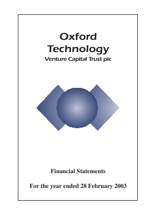 Oxford Technology VCT Plc annual report 2003