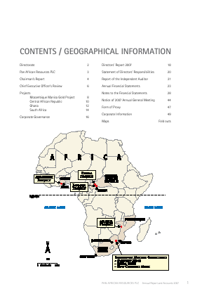 Pan African Resources Plc annual report 2007