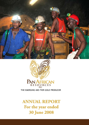 Pan African Resources Plc annual report 2008