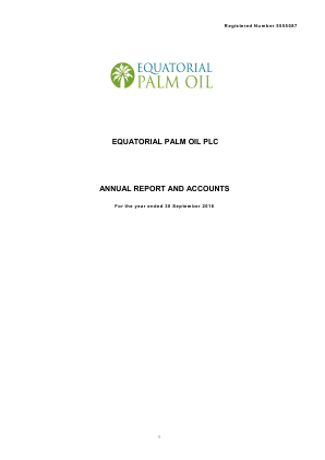 Equatorial Palm Oil Plc annual report 2016