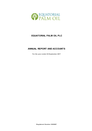 Equatorial Palm Oil Plc annual report 2017
