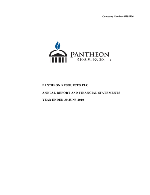 Pantheon Resources annual report 2010