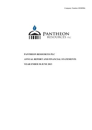 Pantheon Resources annual report 2013