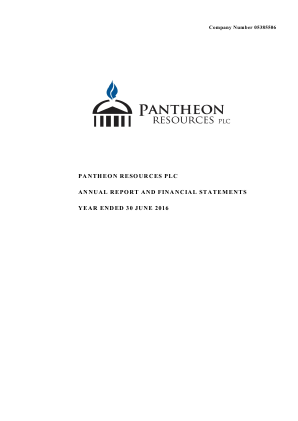 Pantheon Resources annual report 2016