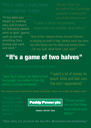 Paddy Power Betfair annual report 2004