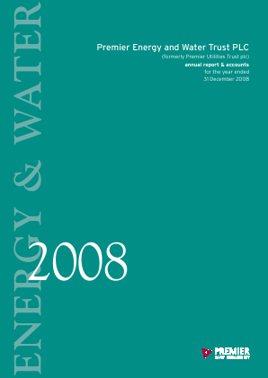 Premier Energy & Water Trust Plc annual report 2008