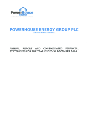 Powerhouse Energy Group Plc annual report 2014