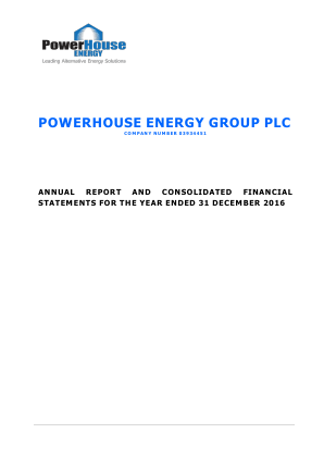 Powerhouse Energy Group Plc annual report 2016