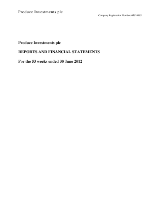 Produce Investments Plc annual report 2012