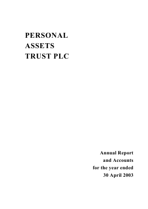 Personal Assets Trust annual report 2003