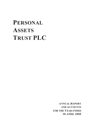 Personal Assets Trust annual report 2008