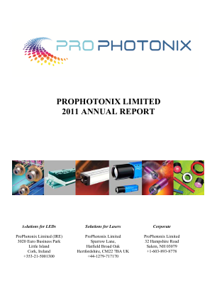 Prophotonix annual report 2011