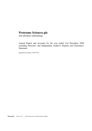 Proteome Sciences Plc annual report 2009