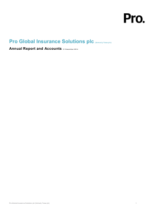 ACHP PLC (Previously Pro Global Insurance Solutions Plc) annual report 2014
