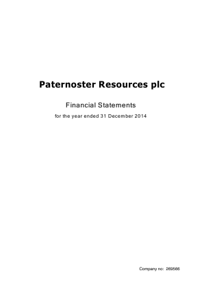 Paternoster Resources Plc annual report 2014