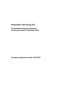 Photonstar Led Group Plc annual report 2016