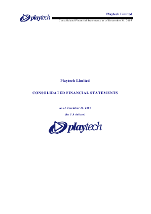 Playtech Plc annual report 2005
