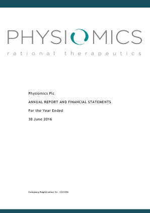 Physiomics Plc annual report 2016