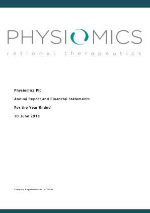 Physiomics Plc annual report 2018