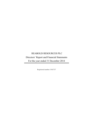 Reabold Resources Plc annual report 2014