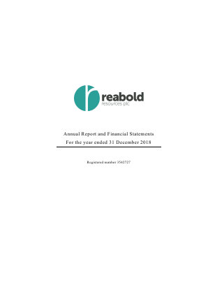 Reabold Resources Plc annual report 2018